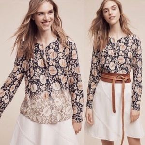 Anthropologie Maeve Floral Orli Bibbed Blouse